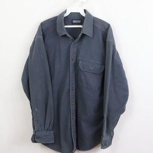 90s Lands End Mens Large Chamois Cloth Shirt Blue